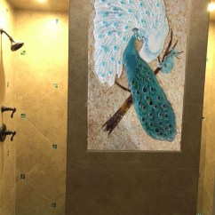 Kitchen Cabinet Knobs Ideas Narrow Sink Mosaic And Fused Glass Tile Mural - Peacock Lovers ...