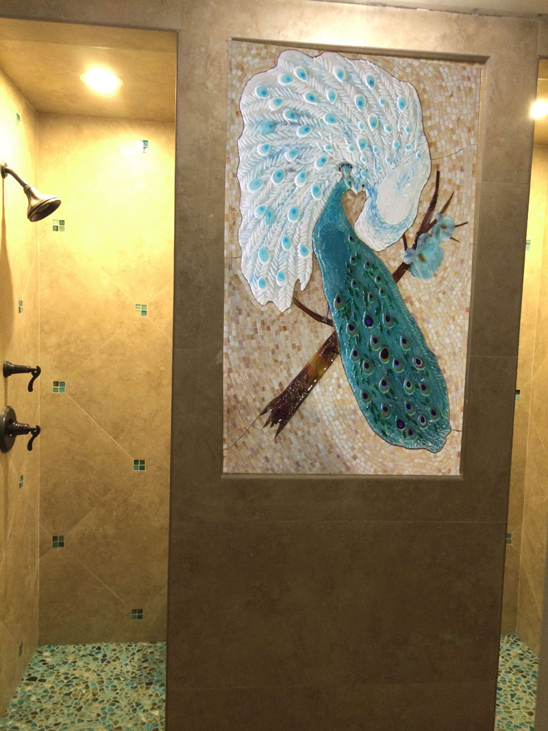 kitchen cabinet knobs ideas out door kitchens mosaic and fused glass tile mural - peacock lovers ...