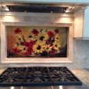 Fused Glass Floral Backsplash