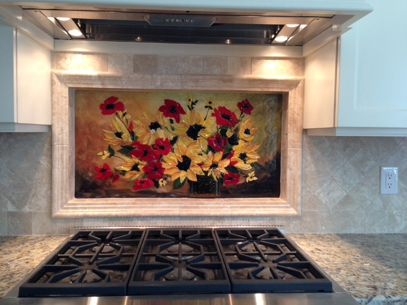 Fused Glass Floral Backsplash Designer Glass Mosaics