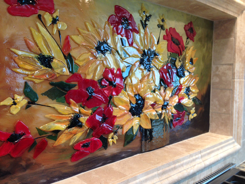 Fused Glass Floral Backsplash Designer Glass Mosaics