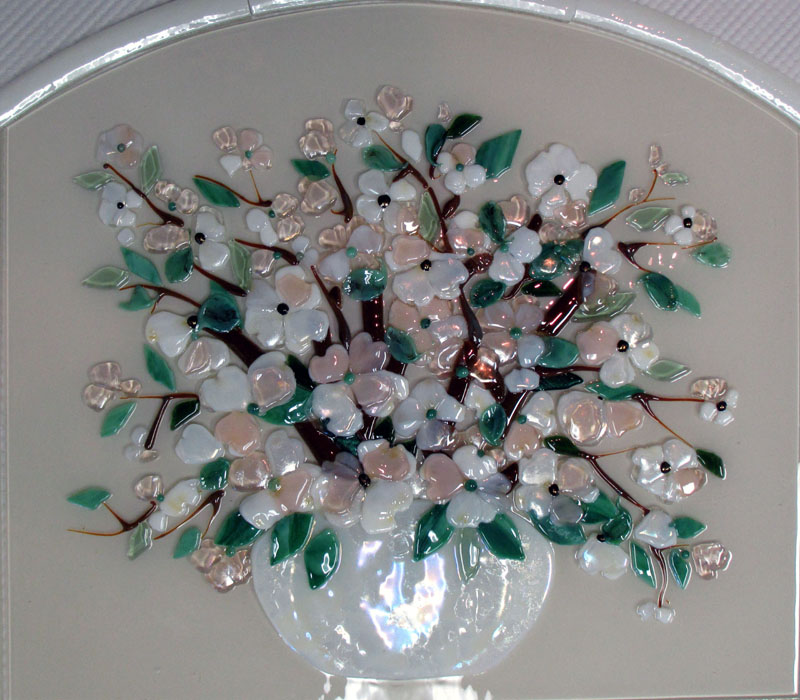 Fused Glass Vase of Dogwood Flowers  Designer Glass Mosaics