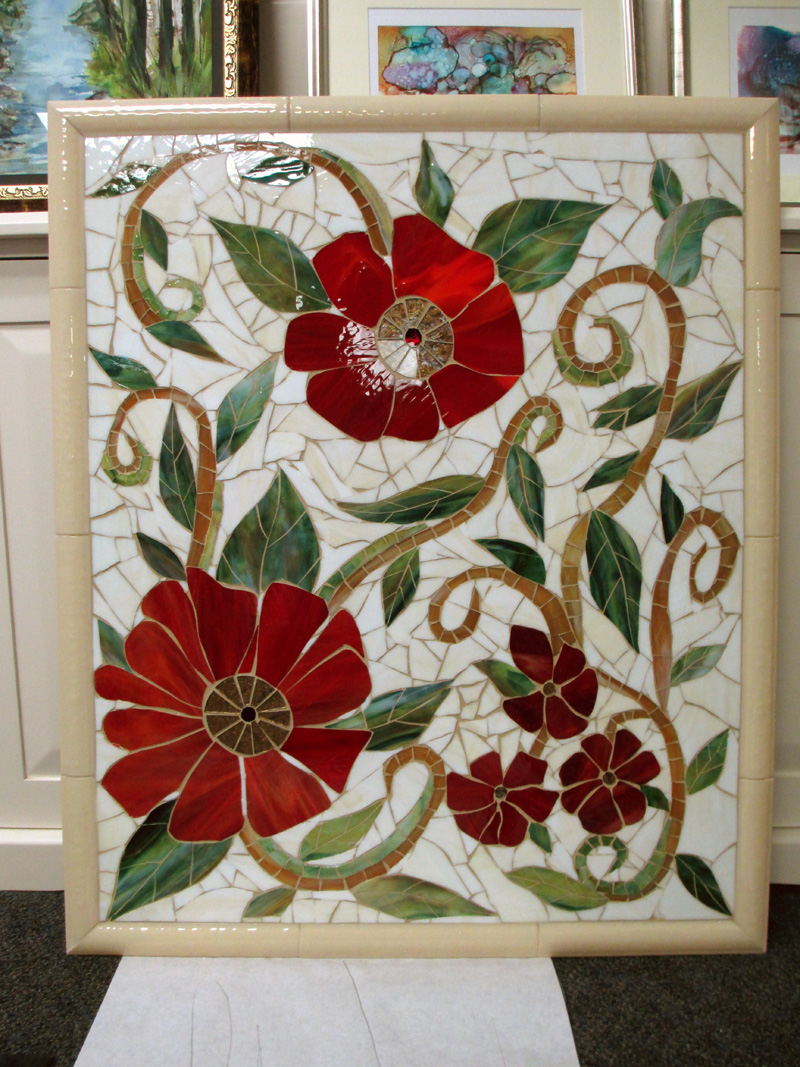 Large Red Floral Mosaic Mural  Designer Glass Mosaics