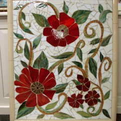 Renovated Kitchen Ideas Fall Curtains Large Red Floral Mosaic Mural | Designer Glass Mosaics