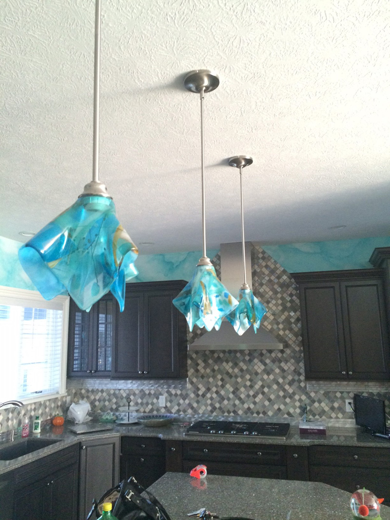 Shades of Blue Abstract Glass Pendant Light  Designer Glass Mosaics