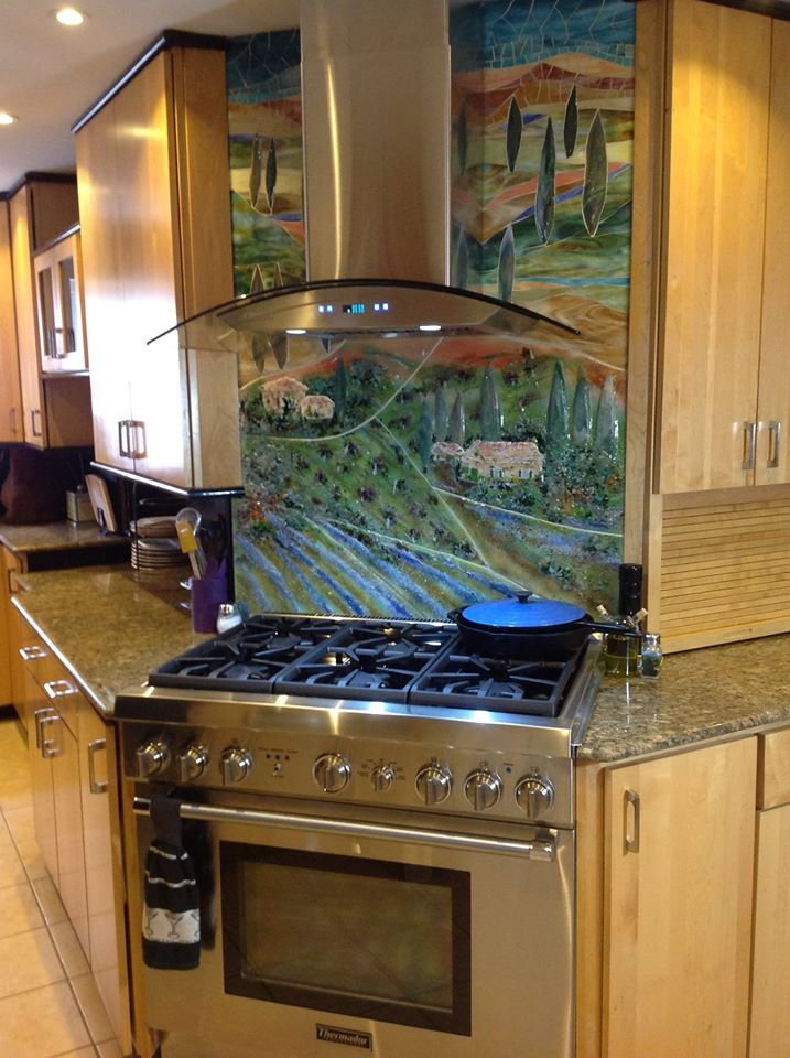 Glass Tuscan Mural for Kitchen  Designer Glass Mosaics