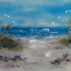 Kitchen Bath Design Counter Stools For Fused Glass Beach Scene | Designer Mosaics