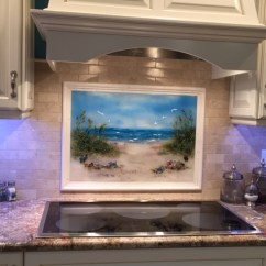 Kitchen Backsplash Glass Tiles Monogram Towels Fused Beach Scene | Designer Mosaics