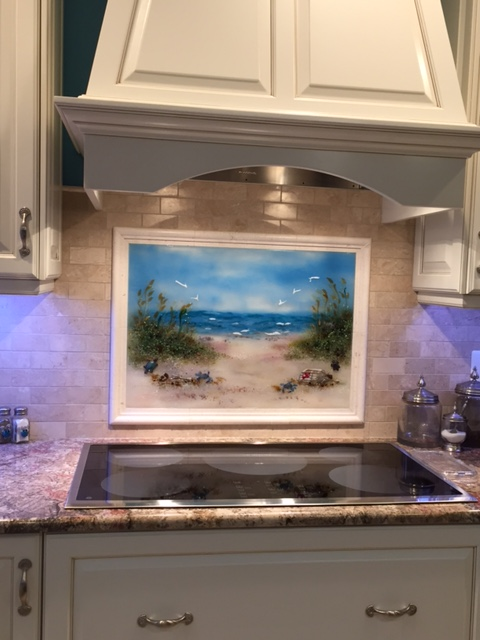 hgtv kitchen makeover honest zeal fused glass beach scene | designer mosaics
