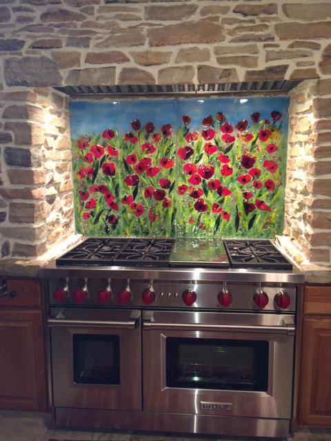 hgtv kitchen design single handle faucet red poppy backsplash | designer glass mosaics