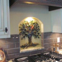 Kitchen Backsplash Murals Distressed Island Tree Of Life | Designer Glass Mosaics
