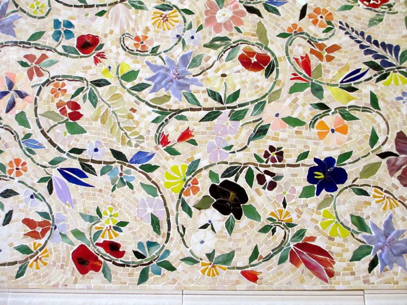 glass mosaic floral mural designer
