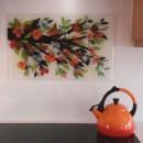 Orange Dogwood Kitchen Backsplash Mural