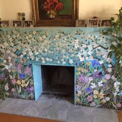 Glass Kitchen Cabinet Knobs Molding Mosaic Fireplace Surround - Dogwood Motif | Designer ...