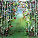 Red Birch Tree Mural in Glass