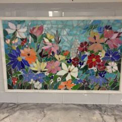 Designer Kitchen Colors All In One Units Floral Mosaic Backsplash | Glass Mosaics