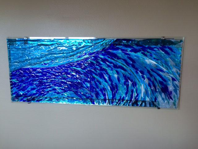 Fused Glass Wave Mural  Designer Glass Mosaics