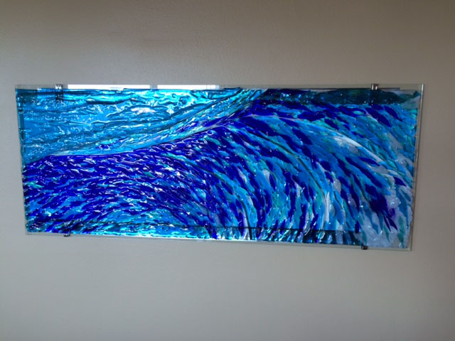 "Tempered Glass Fireplace Fused Glass ""wave"" Mural 