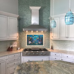 Kitchen Backsplash Murals Sinks With Drain Boards Glass Underwater Mural For | Designer Mosaics