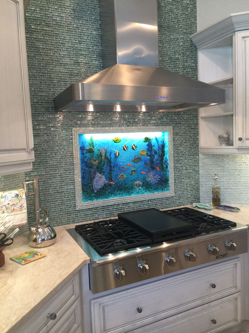 glass backsplashes for kitchens kitchen faucets with sprayer underwater mural | designer mosaics