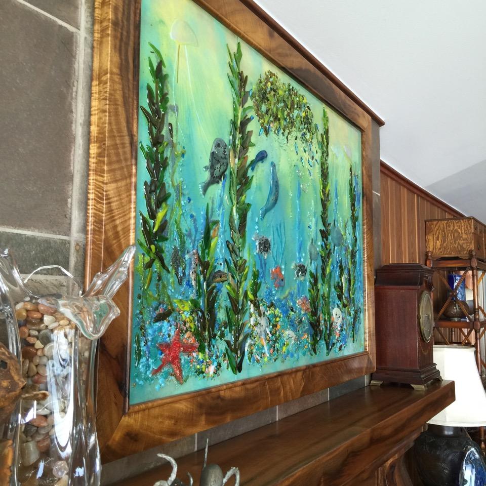 Fused Glass Mural Pacific Coast  Designer Glass Mosaics