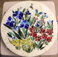 Mosaic Table Top (Floral Motif) | Designer Glass Mosaics