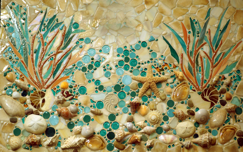 kitchen cabinet knobs ideas how much does a remodel cost beach mosaic mural | designer glass mosaics