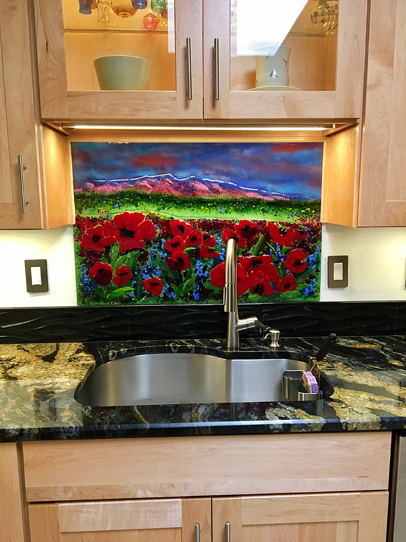 glass tiles for kitchen backsplashes simple outdoor new mexico sunset and poppies mural | designer ...