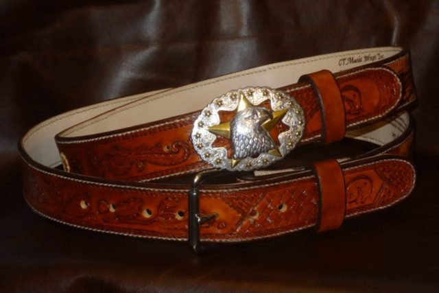 Custom Handcarved and Tooled Belt with Silver and Gold Plated Eagle Buckle