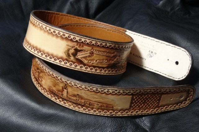 Custom Guitar Strap with Handcarved and Tooled Landscapes in Natural Antique Finish