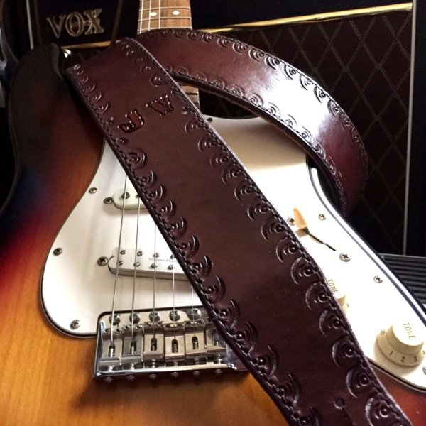 CT Artisan Std Handcrafted Guitar Strap with Initials Shipped to Germany