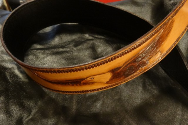 Custom Banjo Strap Featuring Handcarved Bald Eagle in Flight