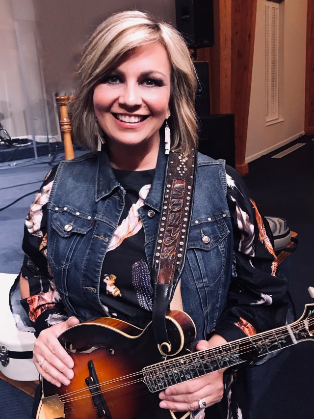 Sonya Isaacs Yeary with her Custom Artist Series Mandolin Strap featuring Hand Carved Letters