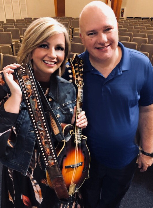 Sonya Isaacs Yeary with CT Strickland and her Custom Artist Series Inlay Mandolin Strap