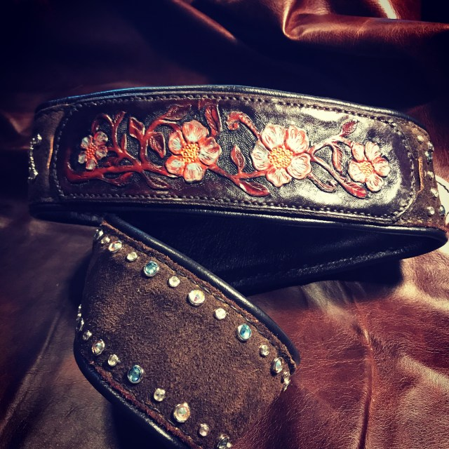 Custom Artist Series Guitar Strap featuring Tooled Panels and Swaroski Crystals on Chocolate Brown Suede