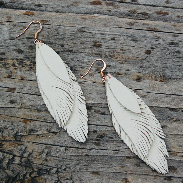 Stacked Leather Feather Earrings in Bone Color