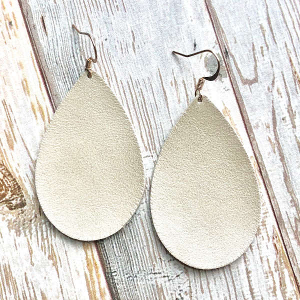Leather Tear Drop Style Earrings in Bone Color