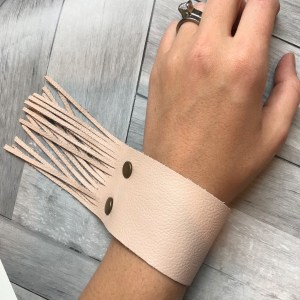 Light Pink Color Fringe Leather Strap from 48 North Designs