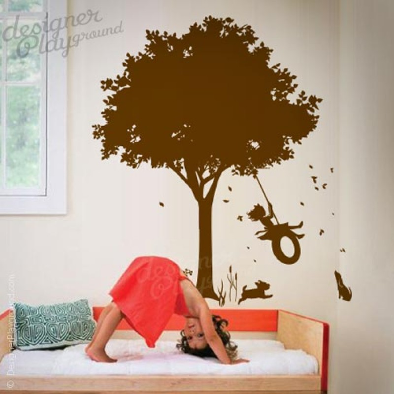 Tree Girl Wallpaper Dark Little Girl Swinging Under Tree