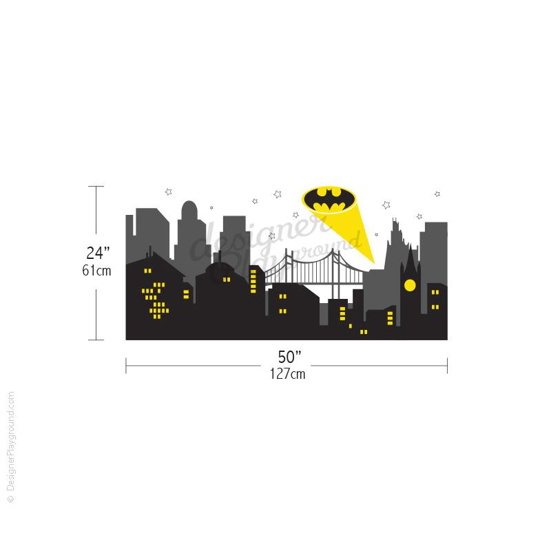 Gotham City Night Scene with Batman Light Wall Decal