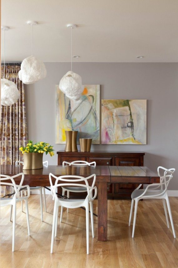 """'Snow Balls"""" another fun and unique option for lighting over your kitchen table"""