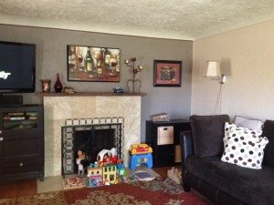 Family room and fireplace before remodel