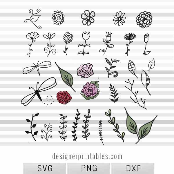svg png dxf flowers
