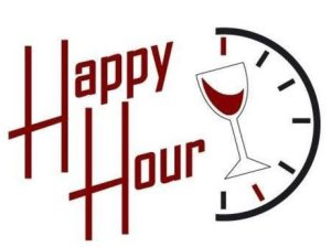 clock, wine glass & Happy Hour for Event March 14th
