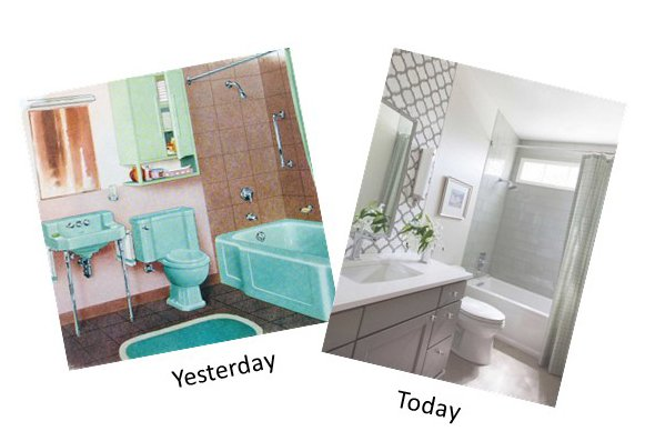 picture of old bathroom 1950's with turquoise tub, toilet and sink and picture of modern bathroom with vanity, sink undermounted in vanity top showing storage and counter space, new toilet and tub.