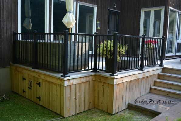 Cedar decks with aluminum rails that fit the landscape
