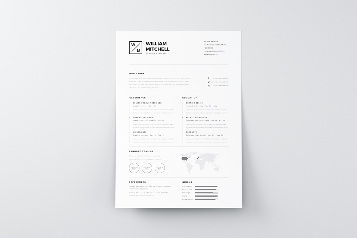 Resume Psd Template Free Minimalistic And Clean Resume Psd And Ai Freebies