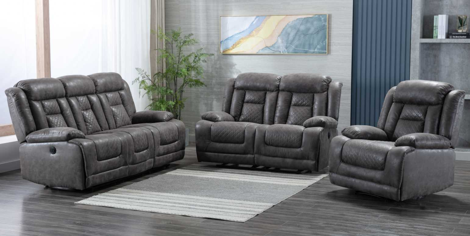 Kelly 3 2 1 Grey Fabric Electric Recliner Sofa Suite Designer Sofas 4u