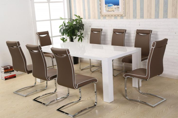 8 Chair Dining Set Melinda Dining Set White High Gloss With 8 Chairs