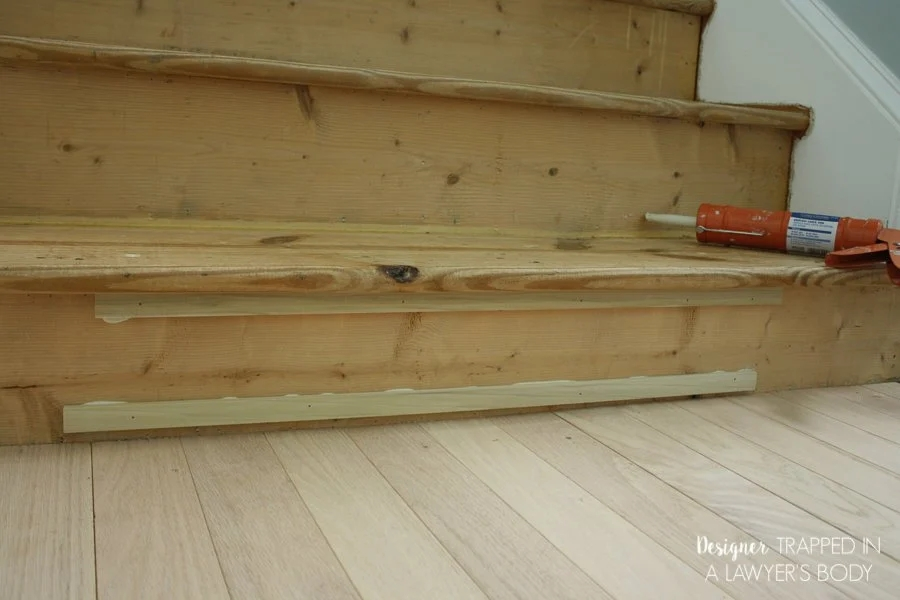 How To Install Wood Stairs In A Weekend   Installing Hardwood On Stairs   Tile Riser White Landing Tread   Combined Wood   Brazilian Cherry Hardwood Stair   Cream Wood   Bottom Stair